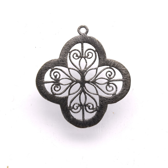 36mm x 36mm Gunmetal Open Symmetrical Cut-Out Quatrefoil/Clover Shaped Components - Packs of 10