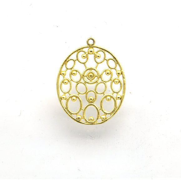 25mm x 28mm Gold Plated Open Symmetrical Ovals Cut-Out Oval Shaped Components - Packs of 10
