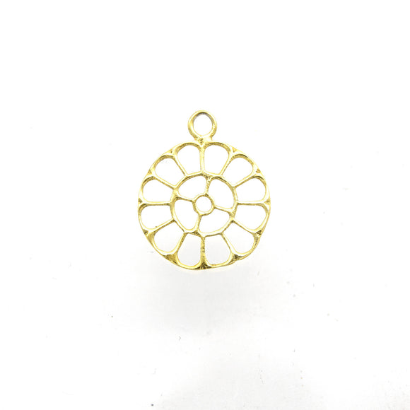 19mm x 19mm Gold Plated Open Radiating Cut-Out Flower Shaped Charm/Pendant - Sold Individually