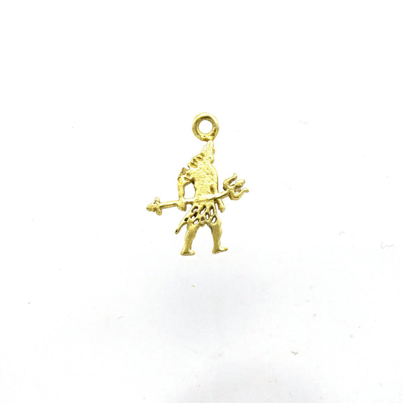 13mm x 16mm Flat Gold Plated Copper Figure Holding Trident Shaped Pendant/Charm - Sold Individually