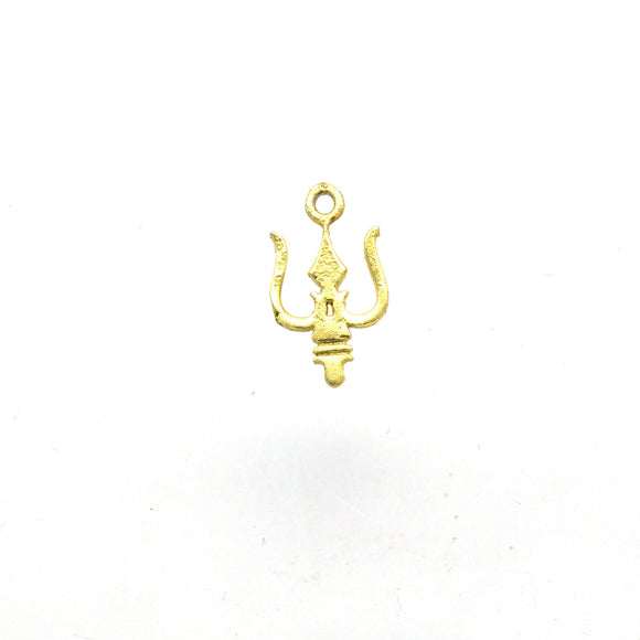 10mm x 15mm Gold Plated Copper Thin Trident Shaped Pendant/Charm Component - Sold Individually