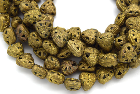 "13mm x 13mm African Brass Articulated Triangle Shaped Beads - (Approx. 22"" Strand, ~35 Beads)"