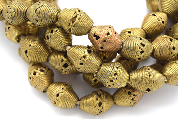 15mm x 20mm African Brass Articulated Barrel Shaped Beads - (Approx. 24
