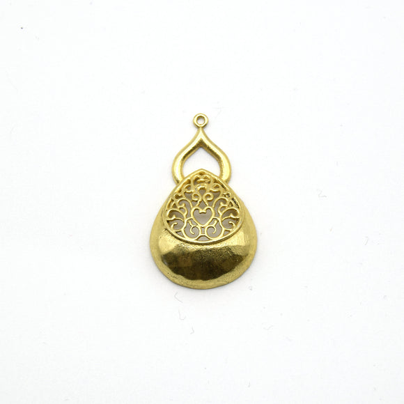 24mm x 30mm Gold Plated Symmetrical Cut-Out Domed Pear/Teardrop Shaped Pendant - Sold Individually