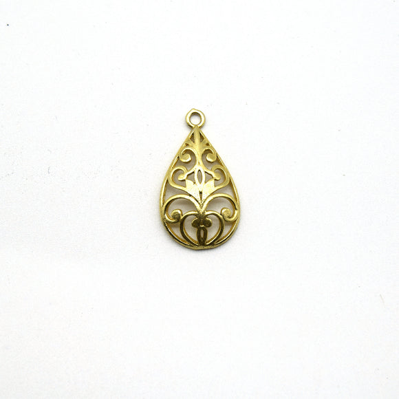 13mm x 22mm Gold Plated Symmetrical Cut-Out Domed Teardrop Shaped Charm/Pendant - Sold Individually