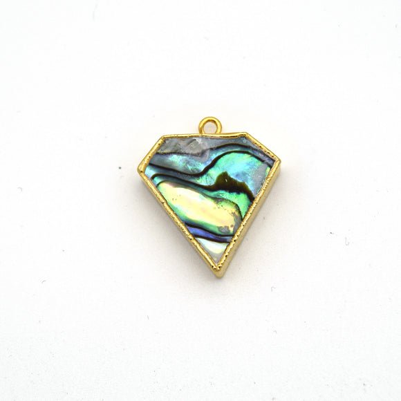 20mm x 20mm Gold Plated Natural Iridescent Rainbow Abalone Flat Shield Shaped Pendant