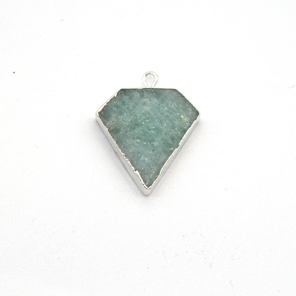 20mm x 20mm Silver Plated Natural Pale Green Amazonite Flat Shield Shaped Pendant -Sold Individually