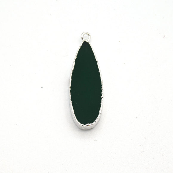 11mm x 30mm Silver Plated Natural Green Jade Long Teardrop Shaped Flat Pendant - Sold Individually
