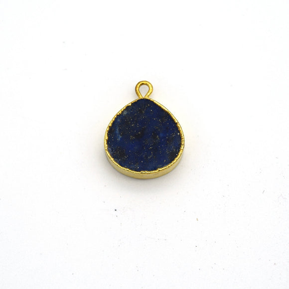 14mm x 15mm Gold Plated Flat Teardrop/Heart Shaped Mixed Blue/Green Lapis Lazuli Pendant