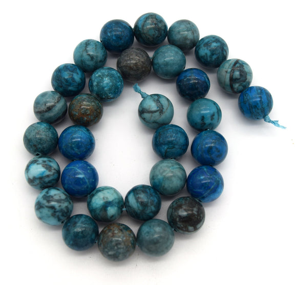 12mm Smooth Round/Ball Shaped Mixed Blue Crazy Lace Agate Beads - (Approx. 15
