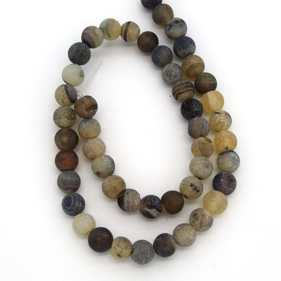 8mm Matte Finish Smooth Round Neutral Crackle/Veined Agate Beads - (Approx. 15