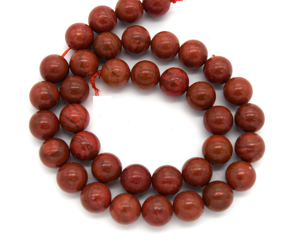 10mm Glossy Smooth Brick Red Poppy Jasper Round/Ball Shaped Beads - (Approx. 15