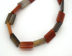 "20mm x 15mm Smooth Red Orange/Gray Banded Agate Rectangular Beads - (Approx. 15"" Strand ~19 Beads)"