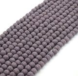 Purple Colored Volcanic Lava Rock Round/Rondelle Shaped Diffuser Beads - (6mm 8mm 10mm 12mm 14mm 16mm Available)