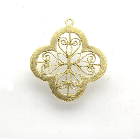 36mm x 36mm Gold Plated Open Symmetrical Cut-Out Quatrefoil/Clover Shaped Components - Packs of 10