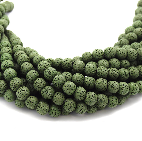 Olive Green Colored Volcanic Lava Rock Round/Rondelle Shaped Diffuser Beads - (6mm 8mm 10mm 12mm 14mm 16mm Available)