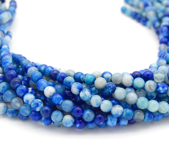 Smooth Blue Mottled Dyed Agate Round/Ball Shaped Beads - Sold by 15.5