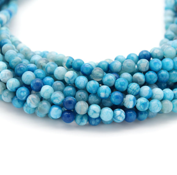 Smooth Aqua Mottled Dyed Agate Round/Ball Shaped Beads - Sold by 15.5