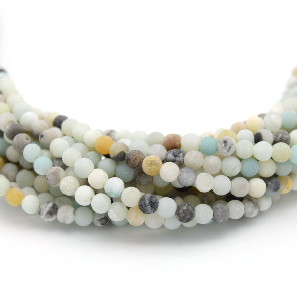 Matte Round Multicolor Amazonite Beads - 15.5