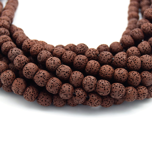 Brown Colored Volcanic Lava Rock Round/Rondelle Shaped Diffuser Beads - (6mm 8mm 10mm 12mm 14mm 16mm Available)