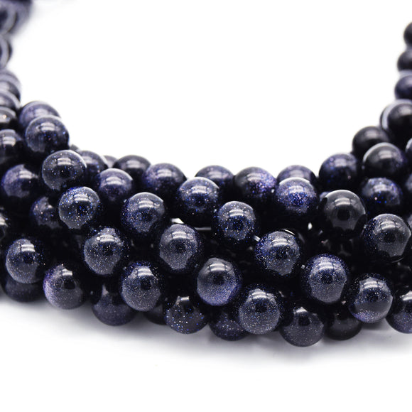 Smooth Manmade Blue Goldstone (Glass) Round/Ball Shaped Beads - Sold by 15.25