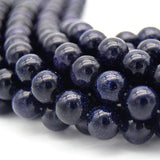 "Smooth Manmade Blue Goldstone (Glass) Round/Ball Shaped Beads - Sold by 15.25"" Strands - Synthetic Gemstone - (4mm 6mm 8mm 10mm Available)"