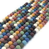 Rainbow Colored Volcanic Lava Rock Round/Rondelle Shaped Diffuser Beads - (6mm 8mm 10mm 12mm 14mm 16mm Available)