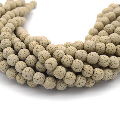 Tan Colored Volcanic Lava Rock Round/Rondelle Shaped Diffuser Beads - (6mm 8mm 10mm 12mm 14mm 16mm Available)