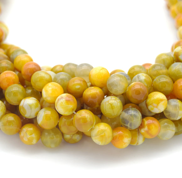 Smooth Yellow Mottled Dyed Agate Round/Ball Shaped Beads - Sold by 15.5