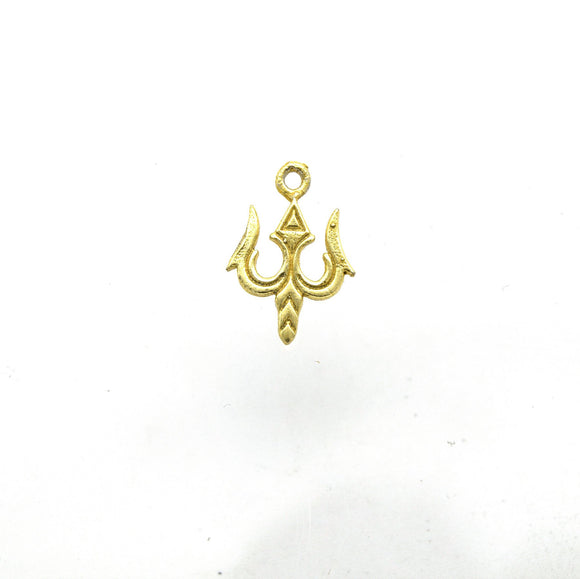 13mm x 15mm Flat Gold Plated Copper Trident Shaped Pendant/Charm Component - Sold Individually