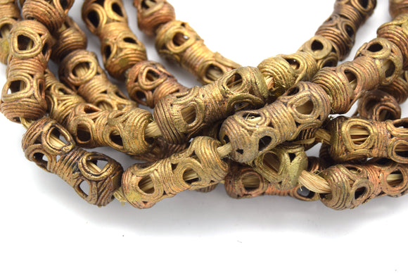 13mm x 30mm African Brass Articulated Tapered Tube Shaped Beads - (Approx. 26