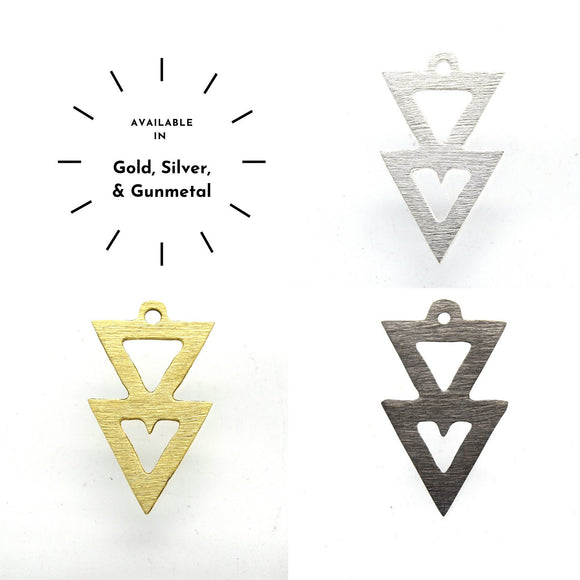 22mm x 38mm Multi Thick Triangle Cut Out Plated Brass Components - Sold in Packs of 10