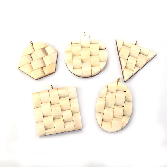 Bone Pendant | White Basket Weave Bone Pendants | 5 Shapes Available - Sold individually