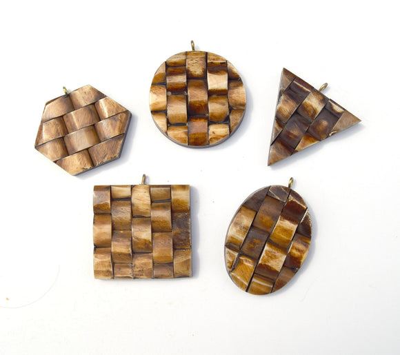 Bone Pendant | Brown Basket Weave Bone Pendants | 5 Shapes Available - Sold individually