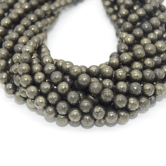 Pyrite Beads |  Natural Smooth Round Gemstone Beads - 4mm 6mm 8mm 10mm 12mm Available