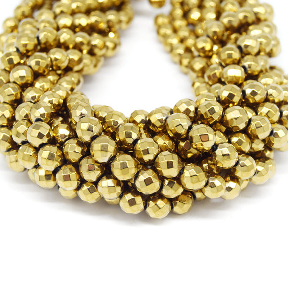 Hematite Beads |   Faceted Light Gold Round Natural Gemstone Beads - 4mm 6mm 8mm 10mm Available