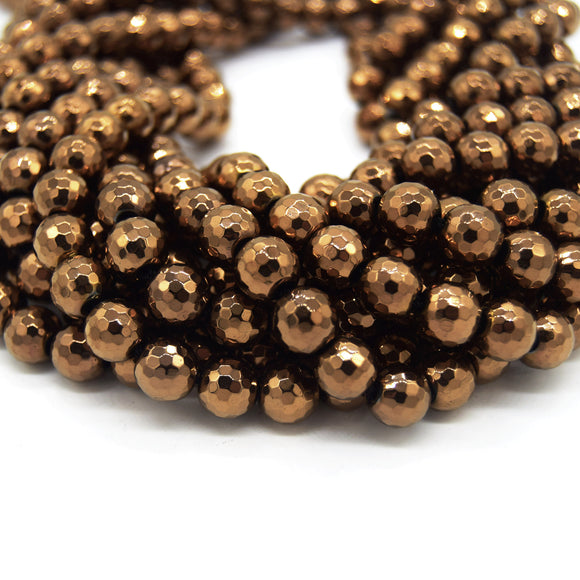 Hematite Beads |   Faceted Metallic Bronze Round Natural Gemstone Beads - 4mm 6mm 8mm 10mm Available