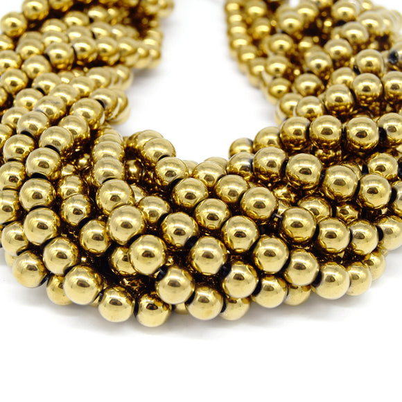 Hematite Beads |  Light Gold Round Natural Gemstone Beads - 4mm 6mm 8mm 10mm Available