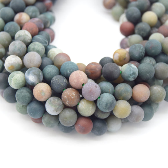 Indian Agate Beads | Natural Matte Round Gemstone Beads - 4mm 6mm 8mm 10mm 12mm Available