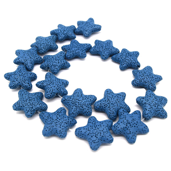 Star Lava Beads | Natural Blue Lava Rock Beads - 22mm 27mm 42mm Available