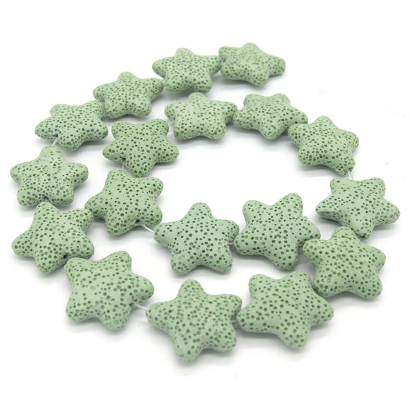 Star Lava Beads | Natural Light Green Lava Rock Beads - 22mm 27mm 42mm Available