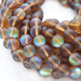 Synthetic Moonstone Beads | Mystic Aura Quartz Beads | Brown Matte Holographic Glass Beads - 6mm 8mm 10mm 12mm Available