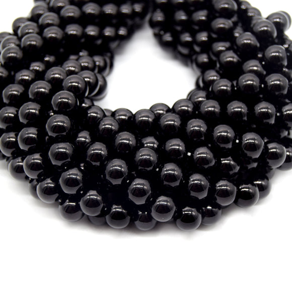 Black Round Glass Beads | Sold by the Strand - 6mm 8mm 10mm 12mm Available