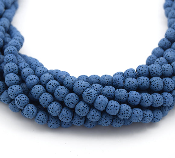 Blue Colored Volcanic Lava Rock Round/Rondelle Shaped Diffuser Beads - (6mm 8mm 10mm 12mm 14mm 16mm Available)