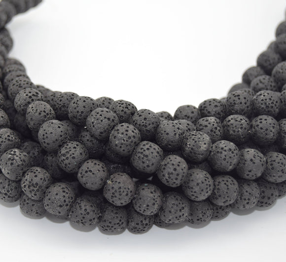 Black Colored Volcanic Lava Rock Round/Rondelle Shaped Diffuser Beads - (6mm 8mm 10mm 12mm 14mm 16mm 18mm Available)