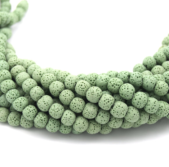 Light Green Colored Volcanic Lava Rock Round/Rondelle Shaped Diffuser Beads - (6mm 8mm 10mm 12mm 14mm 16mm Available)