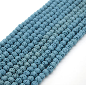Light Blue Colored Volcanic Lava Rock Round/Rondelle Shaped Diffuser Beads - (6mm 8mm 10mm 12mm 14mm 16mm Available)