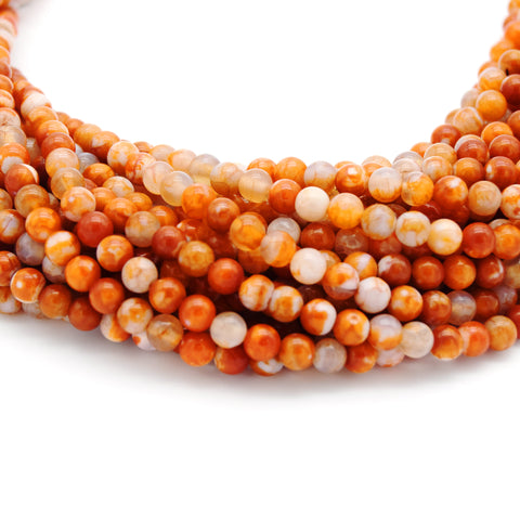 "Smooth Orange Mottled Dyed Agate Round/Ball Shaped Beads - Sold by 15.5"" Strands - Quality Gemstone - (4mm 6mm 8mm 10mm Available)"