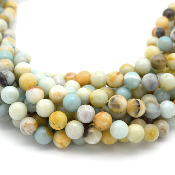 Smooth Round Multicolor Amazonite Beads - 15.5