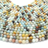 "Faceted Round Multicolor Amazonite Beads - 15.5"" Strand - Semi-Precious Gemstone - (4mm 6mm 8mm 10mm 12mm Available)"